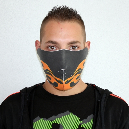 Biker Mask Half Face Orange Flames Bikmaskoraflam Mask