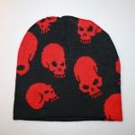 Beanie Red Skulls
