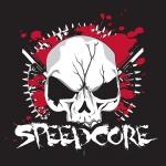 Transparant Speedcore Skull sticker red/black 10x10cm