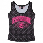 100% Hardcore Girls Top check bl/pink