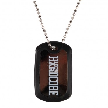 100% Hardcore Dog Tag Black/white