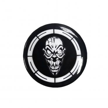 Black CSR button - white printed