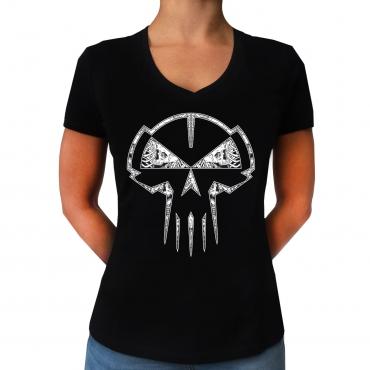 RTC Skull lady v neck top