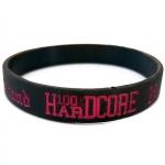 100% Hardcore silicone wristband bla/pin