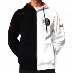 DRS Black white half hooded with zipper