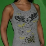 Grey Sullen winged heart ladyshirt