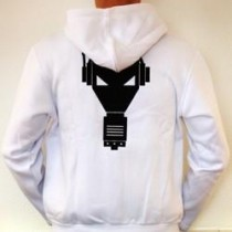 White Enzyme Records jacket with hood and zipper.
